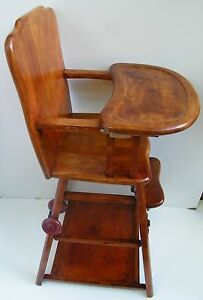 Antique Vintage Wood High Chair Baby Wooden Table Desk Rolling Wheels Adjustable