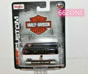 MAISTO 1//64 HARLEY DAVIDSON VW VOLKSWAGEN VAN SAMBA 1//64 BLACK WHITE 15380MJ-VW1