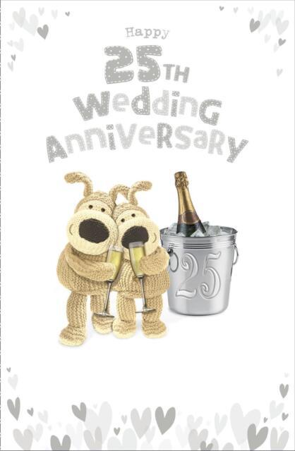 boofle happy 25th wedding anniversary card silver gift ebay