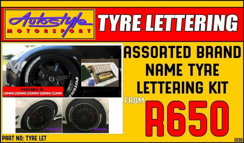 Brand Name Tyre Lettering Kit 25mm 4pc R650  - includes bonding glue and protective gloves - sticks