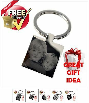 PHOTO ENGRAVED FATHERS DAY GIFT KEYRING PENDANT NEW PERSONALISED