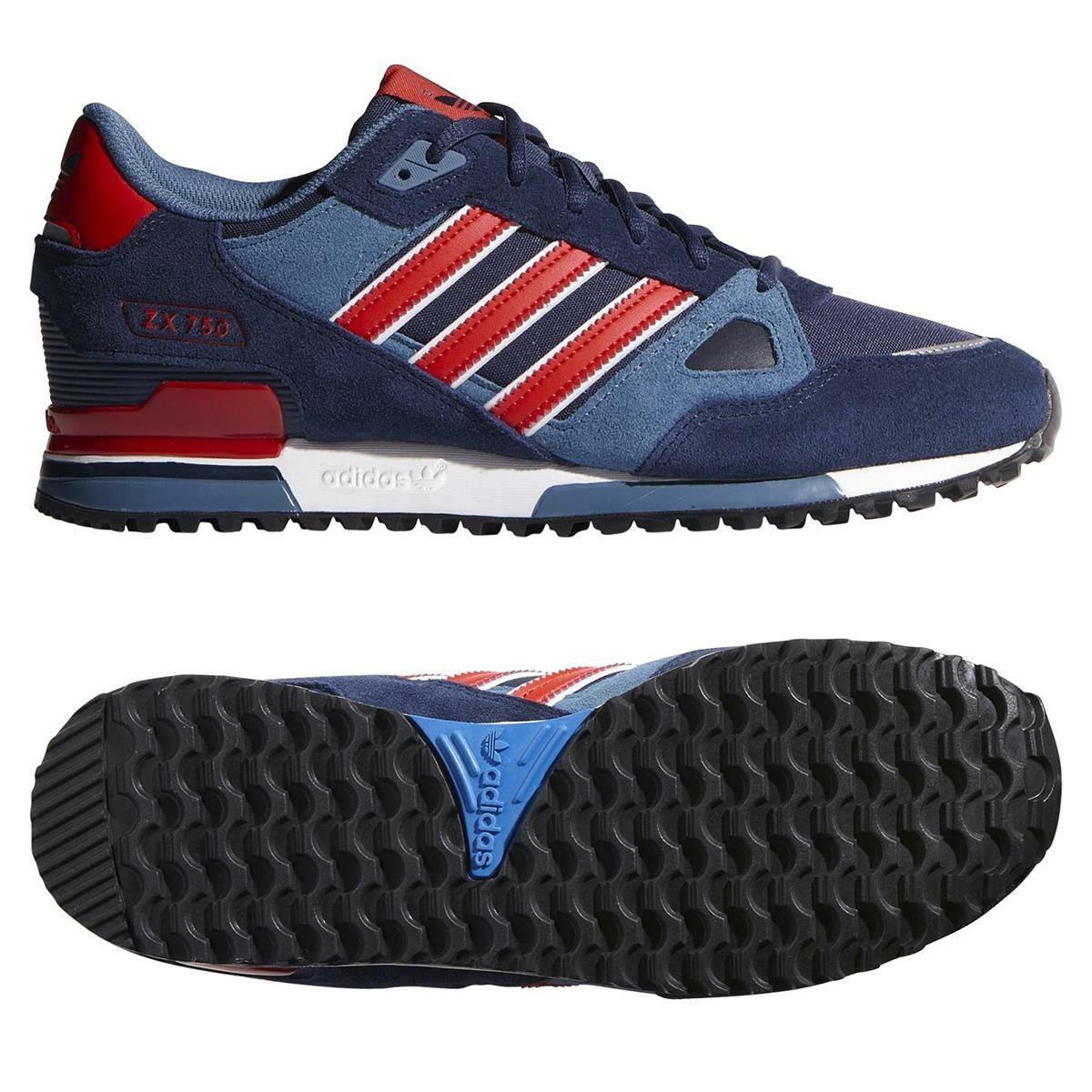 Adidas ORIGINALS herren ZX 750 TRAINERS schuhe Turnschuhe NAVY rot RETRO VINTAGE NEW