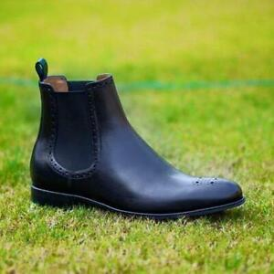Handmade-Chelsea-Boots-Brogue-Black-Fashion-Party-Casual-Real-Calf-Skin-Shoes