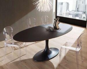 Tavolo da pranzo rud base laccata nera piano ovale legno for Tavolo legno base vetro