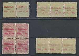 PUERTO RICO 1898 Sc 156 & 161 PAIR, TWO STRIPSx3 & BLOCK OF FOUR SHADES MNH F,VF