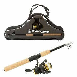 Compact Telescopic Rod Reel Combo Carry Case Left Right Handed Open Face