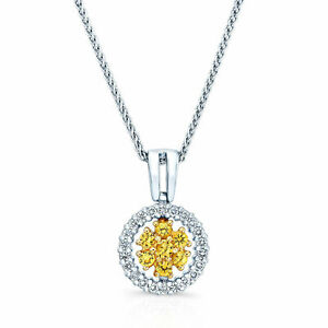 Yellow Sapphire Diamond Pendant Necklace 18k Two-tone Gold Round Flower Design