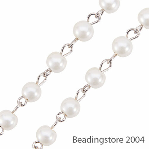 "5 Strd 39.3/"" Handmade Glass Pearl Beaded Chain Beige Craft String 6mm Pick Color"