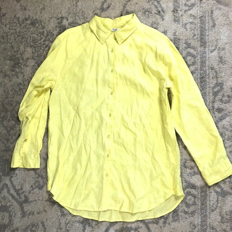 SYMPLE NYC Women's MEDIUM Oversized Linen Button Up Front Shirt Top Loose e0p