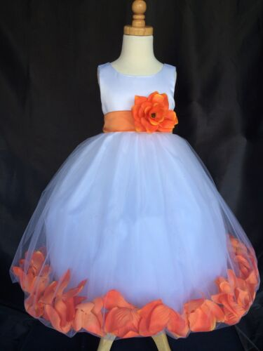 White Flower Girl Bridesmaids Summer Easter Wedding Pageant Recital Dress #24