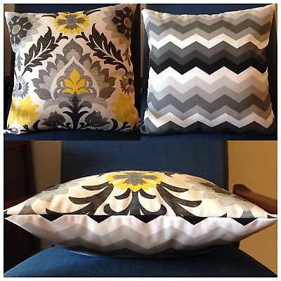 45x45cm Indoor/Outdoor Black/Grey/Yellow Santa Maria/Chevron Cushion Cover
