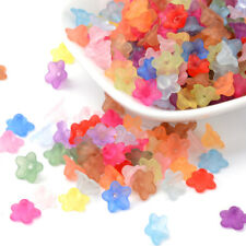 400 Hello Mixed Flower HOTSELL Frosted Acrylic Beads 28x7mm
