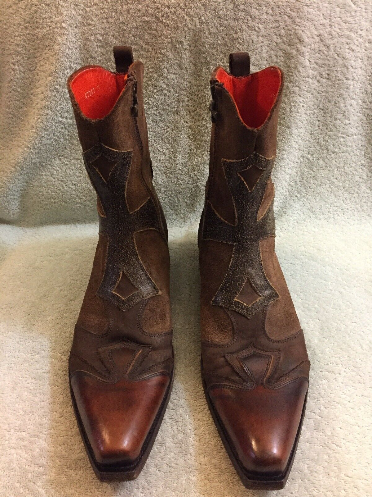 Mark Nason Dallas Men's Boots Brown Leather Distressed Caramel 67267 Size 13