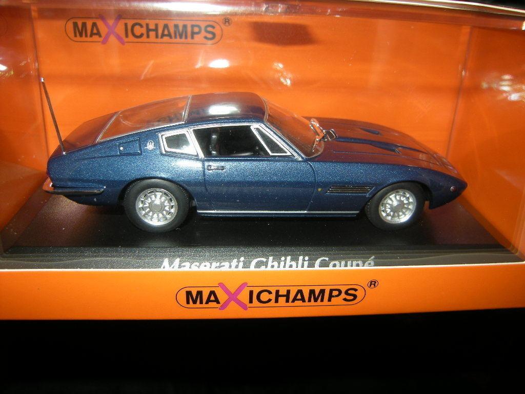 1 43 maxichamps Maserati Ghibli Coupe 1969 bleu bleu Nº 940123321 neuf dans sa boîte