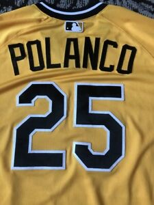 pretty nice b1ccb fcef9 Details about 2018 PITTSBURGH PIRATES GREGORY POLANCO GAME USED WORN TBTC  YELLOW JERSEY HOLO