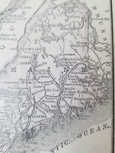 Details about Small 1800 Old Antique Pocket Map Atlas Plan Of Maine USA  United States AUGUSTA