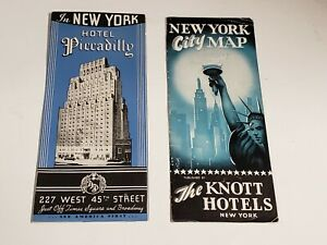 Vtg-2-1940s-NYC-New-York-City-Hotel-Brochures-Piccadilly-Knott-with-Map