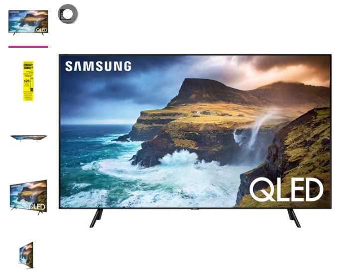SAMSUNG 75 Class 4K Ultra HD (2160P) HDR Smart QLED TV QN75Q70R (2019 Model). Available Now for 865.00