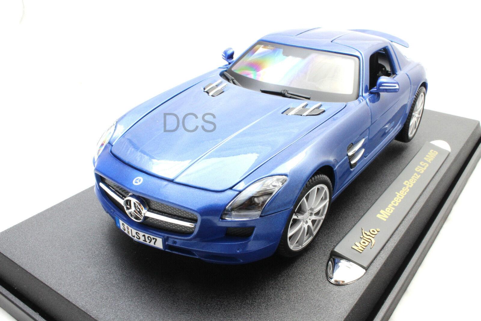Maisto Mercedes Benz SLS AMG Gullvinge blå 1  18 tärningskast bil