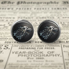 Game of Thrones House Stark Winter is Coming Stud Post Earrings, Gift Box.
