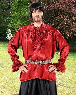 Pirate Shirt Medieval Renaissance Red Black Ruffle Satin S/M - XXXL Men Women