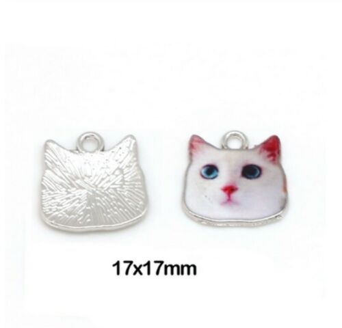 10pcs Charm Enamel Cat Pendant Craft Connector Chandelier Earring Findings DIY