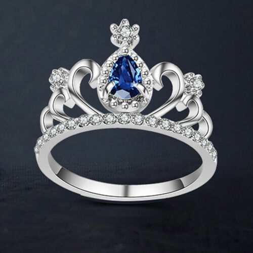 Fashion Women Rings Red Crystal Creative Queen Crown Design Princess Jewelry S