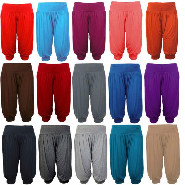 New Ladies Women Plain 3/4 Hareem Crop Ali Baba Trouser Pant Leggings Plus Size