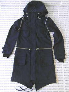 ADIDAS SLVR 'FISHTAIL PARKA' NAVY/BLUE JACKET TRENCH PARKER COAT ...
