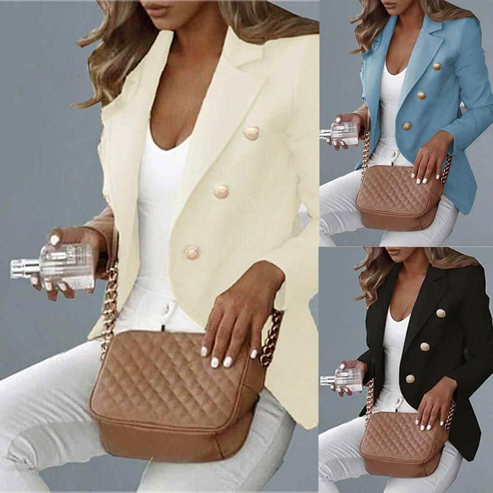 Women Slim Blazer Work OL Jacket Long Sleeve Outwear Coat Formal Suit Plus Size