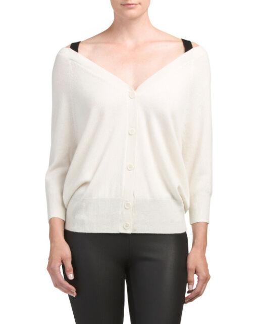 f4134f0e8b  395NWT Theory Saline B Ivory Cashmere Cardigan Off-the-Shoulder Sweater  szS M L