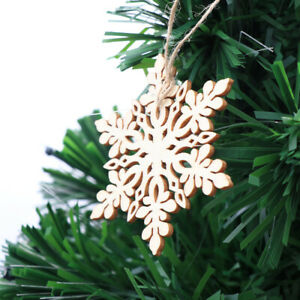 10pcs Sharp Hexagonal Wooden Snowflake Hanging Ornament Decoration Pendants With Ebay