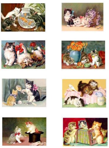 Adorable Vintage Kitten Postcards Mini Fabric Blocks FrEE ShiPPinG WoRld WiDE