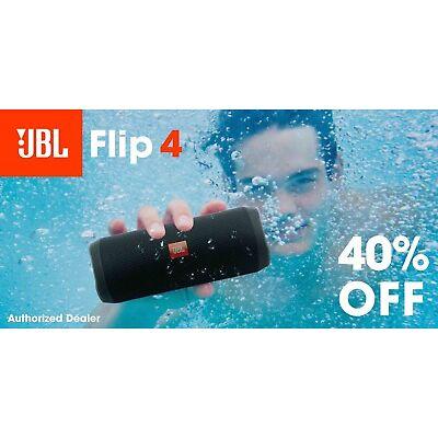 JBL Flip 4 Waterproof Portable Bluetooth Speaker - Black *Authorized Dealer*
