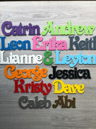 ANY FONT Personalised wooden script name plaque signWedding Place Names MDF