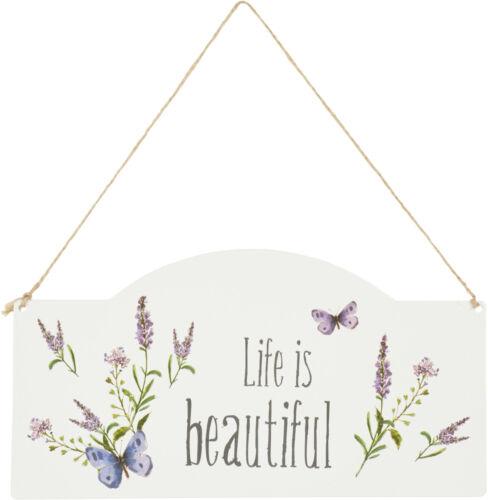 """IHR Türschild La Lavande cream /""""Life is beautiful/"""" Lavendel Sommer Metall Deko"""