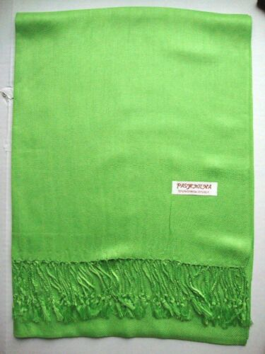 NEW Pashmina Fall Spring Scarf Scarves Silk Bright Green Solid Shawl Wrap Range