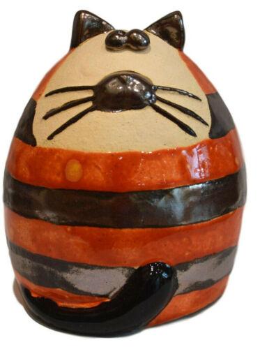 Ginger Stripey Céramique Fat Cat shelf sitter Jardin Intérieur Ornement Sculpture