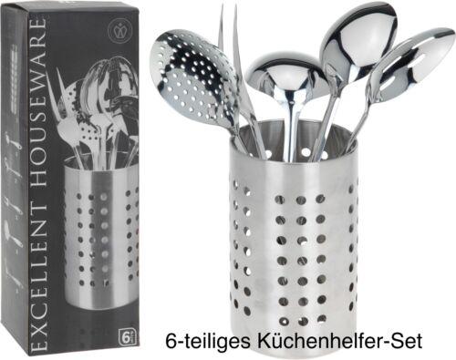 Küchen-Set Edelstahl 6 tlg Kochbesteck Kochzubehör Küchenbesteck Küchenhelfer