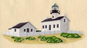 LIGHTHOUSE ON THE HORIZON COLLAGE UNIQUE RARE FIND TOWELS EMBROIDERED BY LAURA