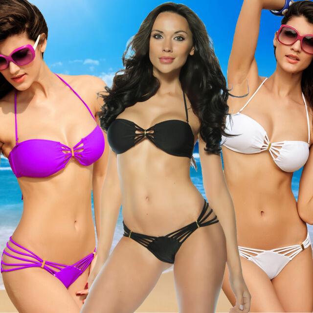 Sexy Damen Bikini Set Bandeau Bademode Badeanzug XS-L lila schwarz weiß
