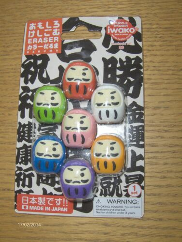 NEW LATEST CRAZE IWAKO NOVELTY ERASERS RUBBERS JAPANESE DARUMA SET OF 6