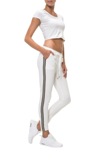 Hachiro Donna Jogging Pantaloni Casual Sportswear Comfort Fit Stretch Pantaloni TESSUTO
