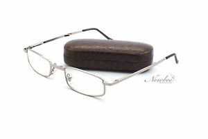 Foldable-Folding-Reading-Glasses-w-Brown-Hard-Case-Microfiber-Cloth-Included