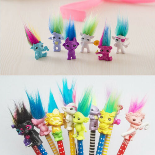 Chromatic 6pcs Cartoon Lucky Troll Doll Mini Action Figures Toy Cake Toppers