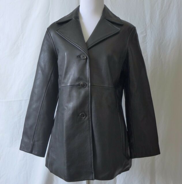 Black Leather Coat Andrew Marc New York Jacket Women's Size M