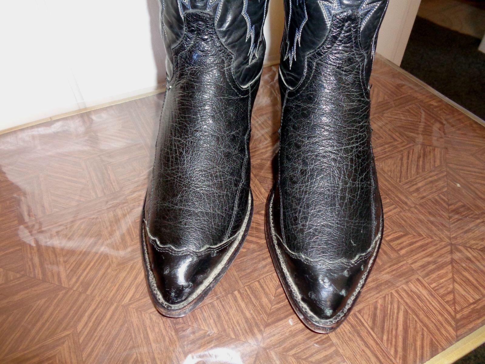 TONY LAMA VTG USA EXOTIC FULL QUILL OSTRICH WINGTIP WESTERN Stiefel SZ 7EE XLNT