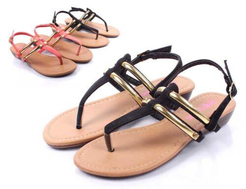 Black Cute Summer Buckle Preschool Kids Girls Sandals Toddler Shoes Size 10