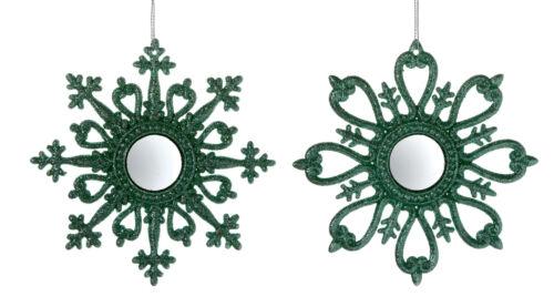 4 x Vert Flocon de neige Noël Baubles Décorations pour arbres Paillettes Finition