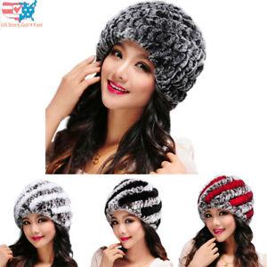 Women Fall Winter Warm Hats Handmade Faux Fur Caps Girls Headgear ... b9609032eec1